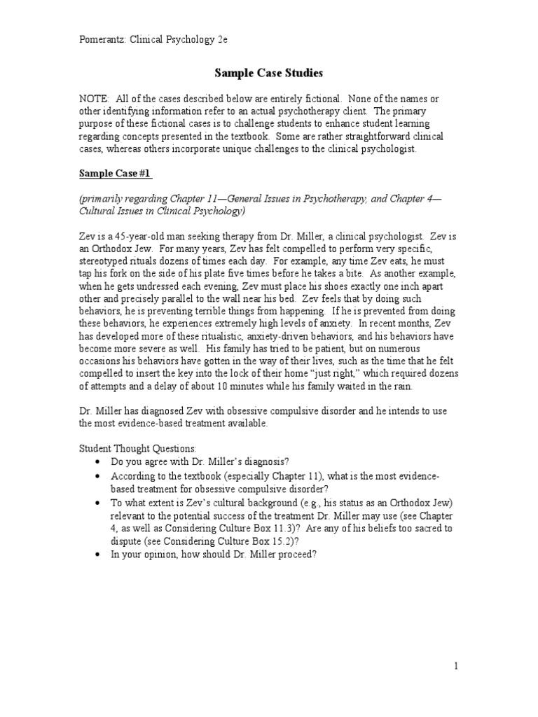 Case Studies 01 | Clinical Psychology | Psychology & Cognitive Science