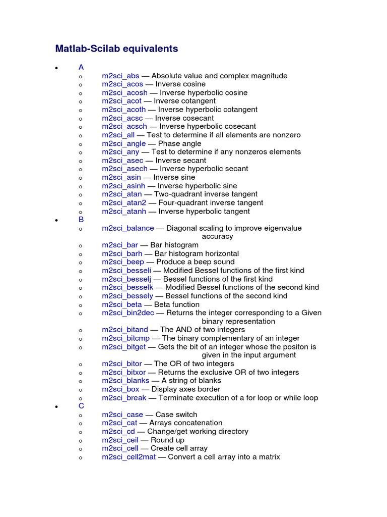 Matlab - Scilab   Matrix (Mathematics)   Trigonometric Functions