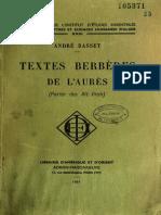 Textes Berbères de l'Aurès (Parler des Ait Frah) - André Basset 1961