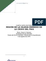 """Mons. Oscar Arnulfo Romero CARTA PASTORAL 5 :""""Misión de la Iglesia enmedio de la crisis del pais"""""""