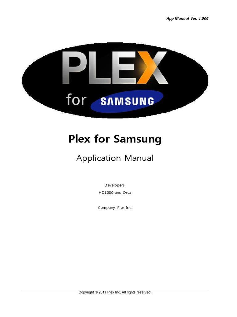 Plex for Samsung App Manual v1006 | Hypertext Transfer Protocol