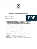 CALENDARIZACION Materiales comunes Introducción a la Microeconomía  2014