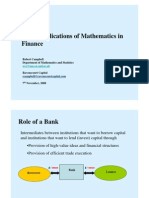 Some Applications of Mathematics in Finance (7 November 2008)