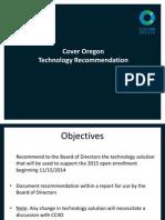 Cover Oregon Technology Presentation