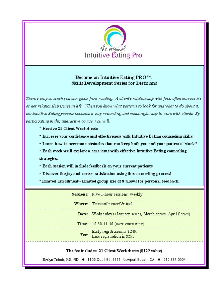 Intuitive Eating PRO Skills Training Course Outline and Registration |  Cheque | Credit Card
