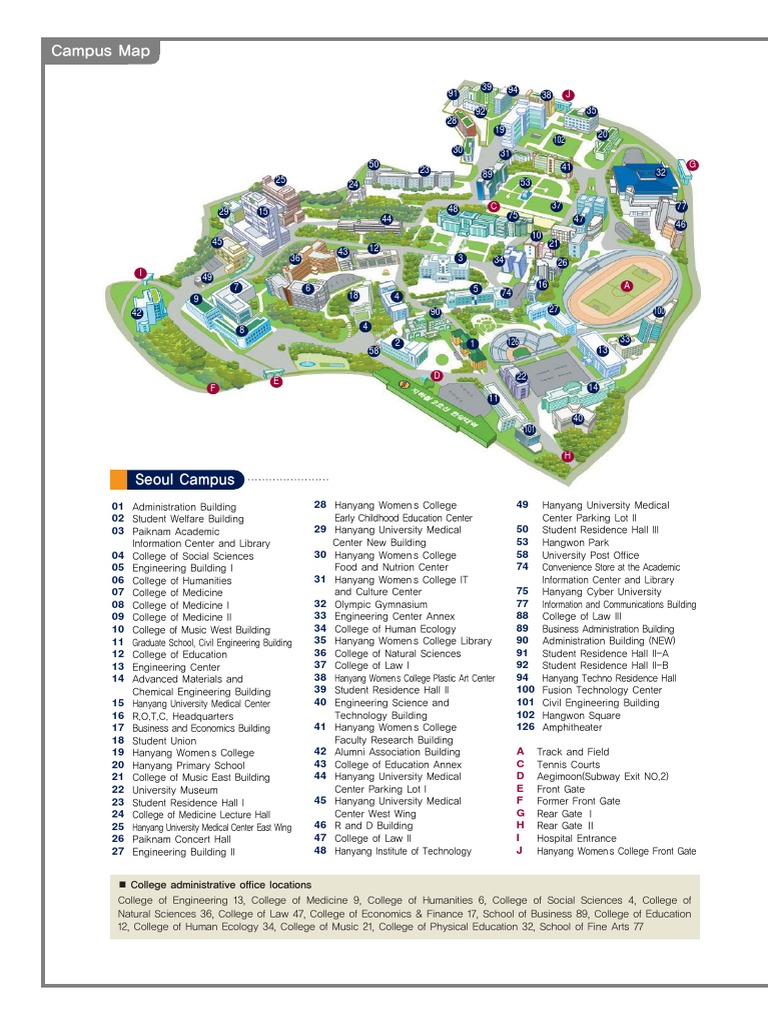 hanyang university campus map Campus Map English Seoul College hanyang university campus map