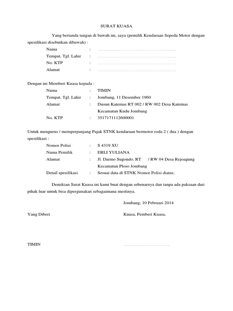 Contoh Surat Kuasa Pembayaran Pajak Motor Doc - Bagi ...