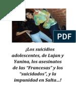 """¡Los suicidios adolescentes, de Lujan y Yanina, los asesinatos de las """"Francesas"""" y los """"suicidados"""", y la impunidad en Salta…!"""