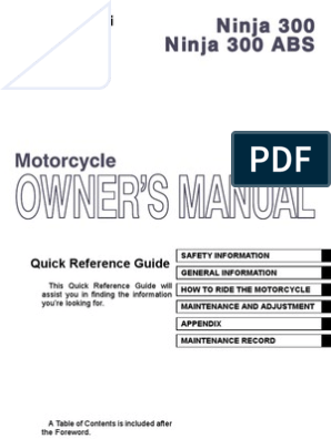 Kawasaki Ninja 300 Abs Owners Manual Australia Gasoline Anti Lock Braking System
