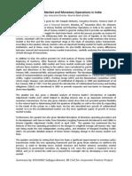 Summary of Money Market and Monetary Operations in India