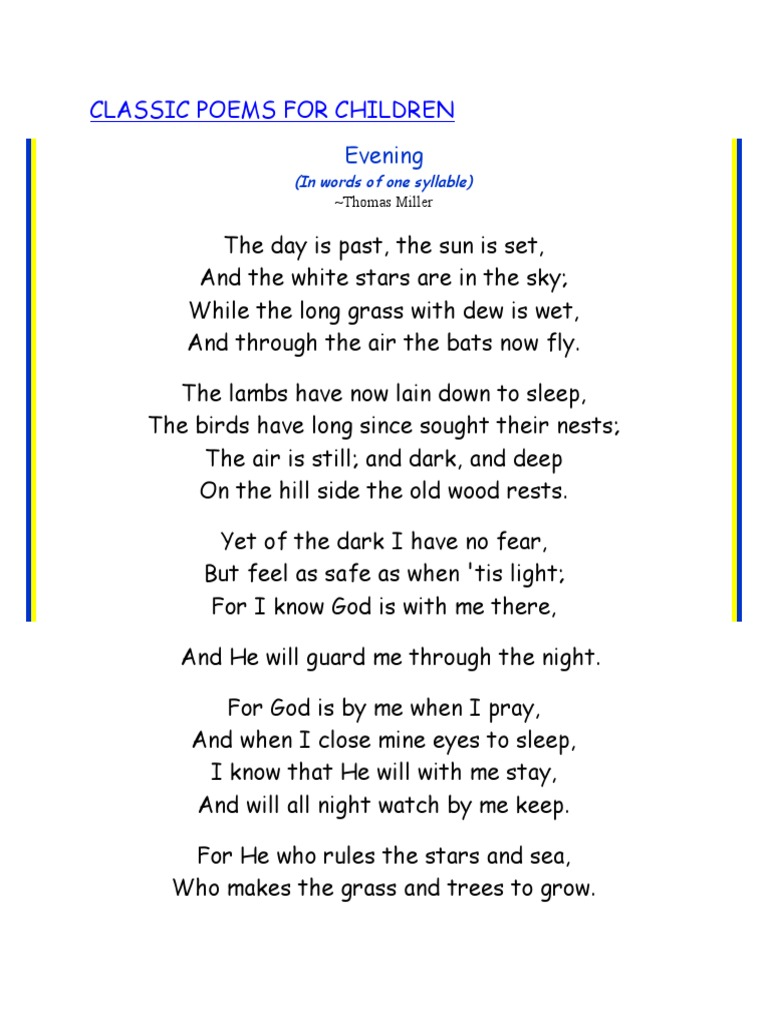 Classic Poems For Children: Evening