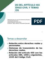 Derechos Reales Artculo 455 Derechos Reales Personales