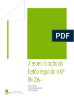 NP EN 206-1 Especificação Betão