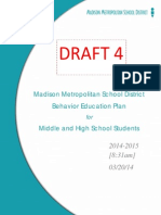 MMSD Draft Behavior Education Plan for Middle and High School Students 032014