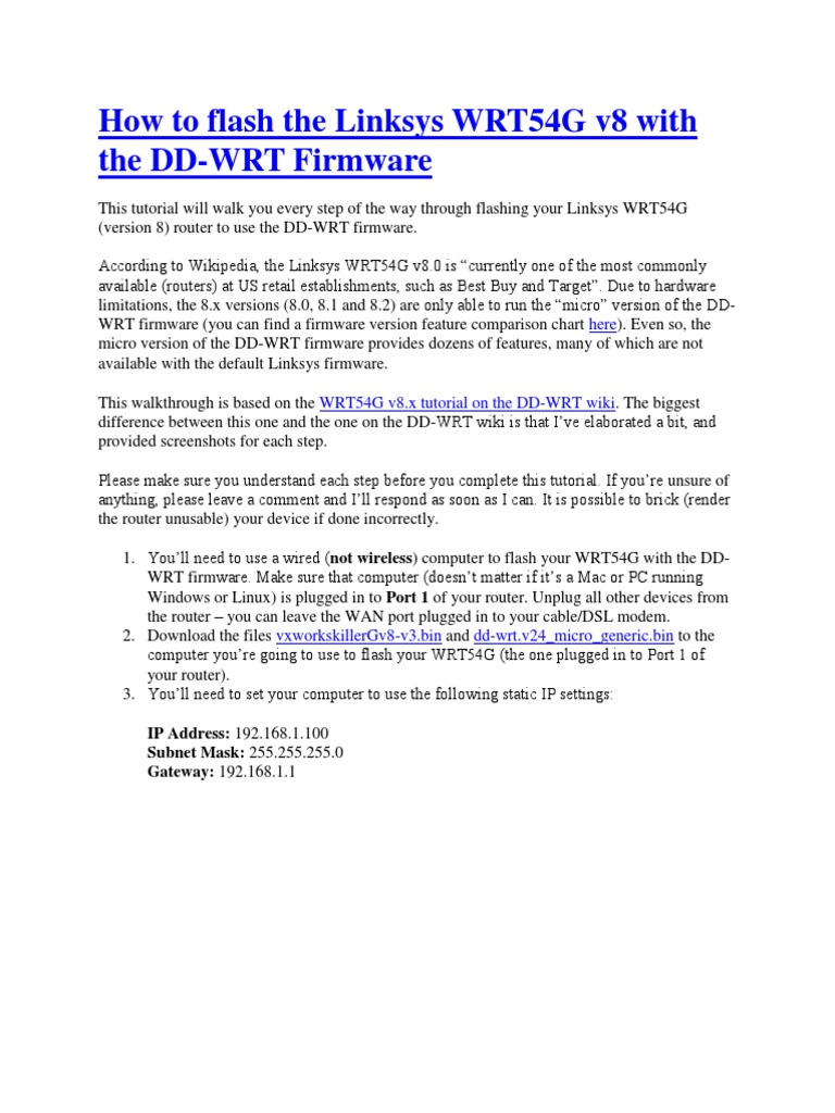 flash the Linksys WRT54G v8 with the DD-WRT Firmware