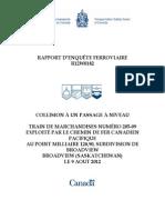 Rapport du BST R12W0182 (Broadview)
