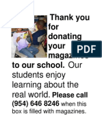 Thank You for Donating Your Magazines to Our School