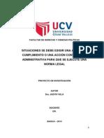 ACCION DE CUMPLIMIENTO vs ACCION CONTENCIOSA ADMINISTRATIVA - Proyecto de Investigación