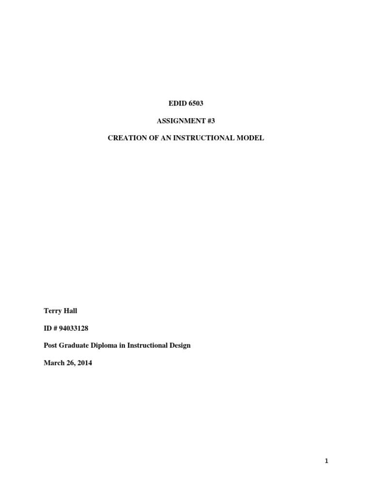 Edid 6503 Assignment 3 D Instructional Design Strategic Management