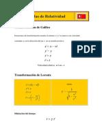 Fórmulas de Relatividad