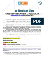 Rapport Temoins de Ligne Octobre 2013