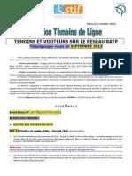 Rapport Temoins de Ligne Septembre 2013