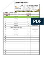 Lista de Materiales c&r