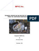TECHNICAL REPORT ON THE GEOLOGY OF, AND RESULTS FROM, THE NORTHWEST MANITOBA PROJECT