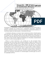 UE10 - 3º ano - O Continente Africano