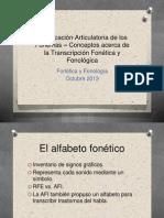 Clasificación Articulatoria de los Fonemas - Conceptos acerca de la transcripción