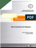 INFORME INVESTIGAGCIÓN ESPECIAL 32-11 MUNICIPALIDAD DE NOGALES SOBRE EVENTUALES IRREGULARIDADES EN PLANTA DE AGUAS SERVIDAS%2c MAYO 2012