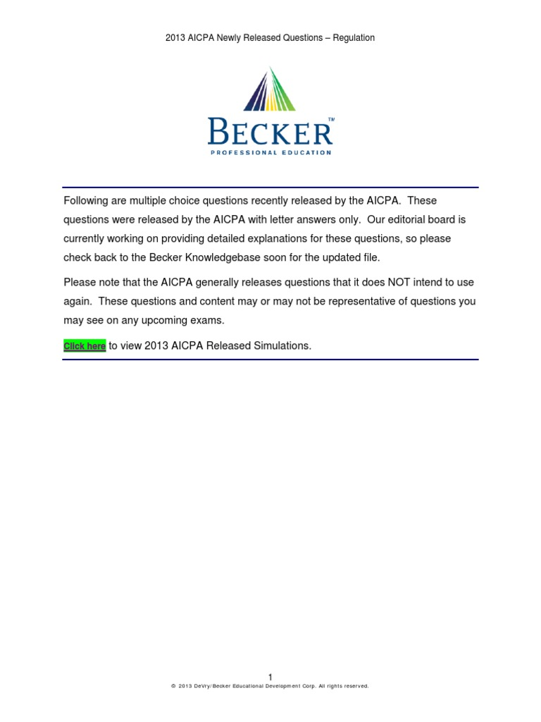 AICPA.newly.released.questions REG | Expense | Tax Return (United States)