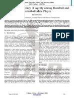 A Comparative Study of Agility Among Handball and Basketball Male Player