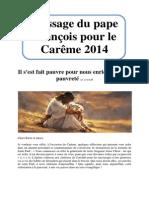 Message du pape François pour le Carême 2014