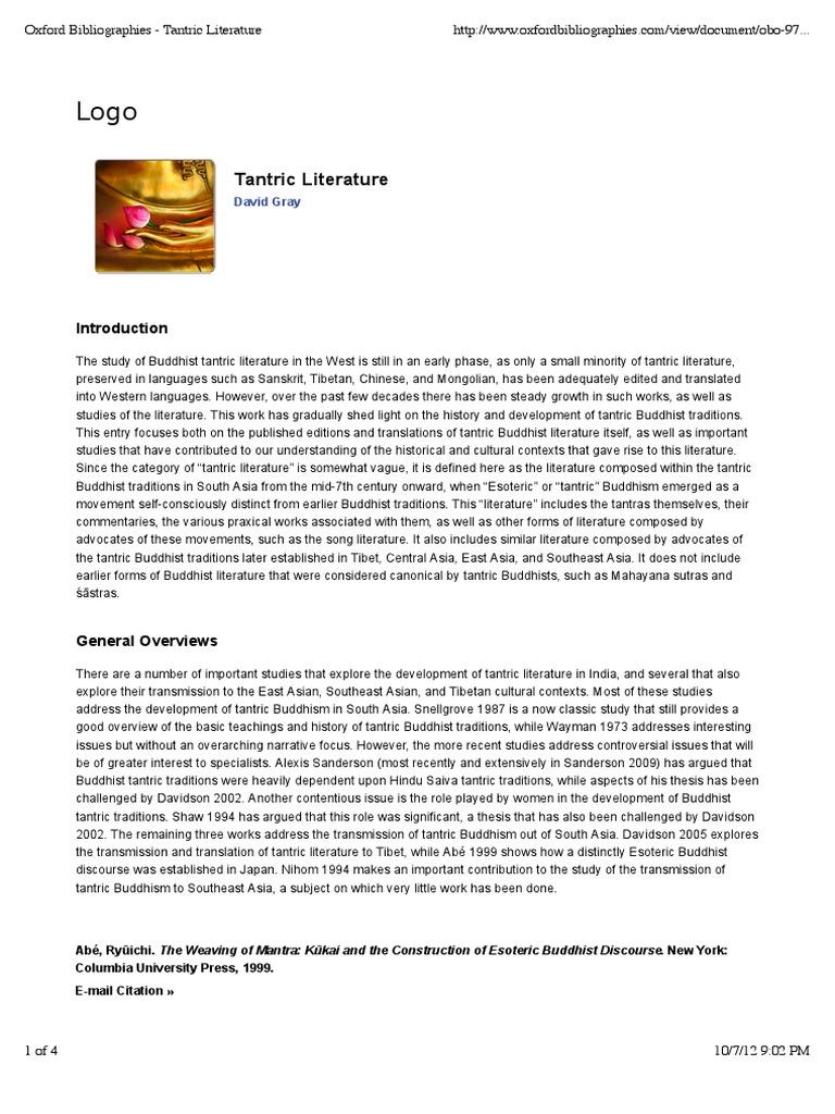 Oxford Bibliographies - Tantric Literature | Vajrayana (46 views)