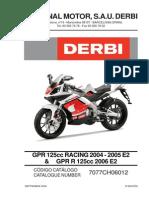 Derbi GPR 125 R Despiece