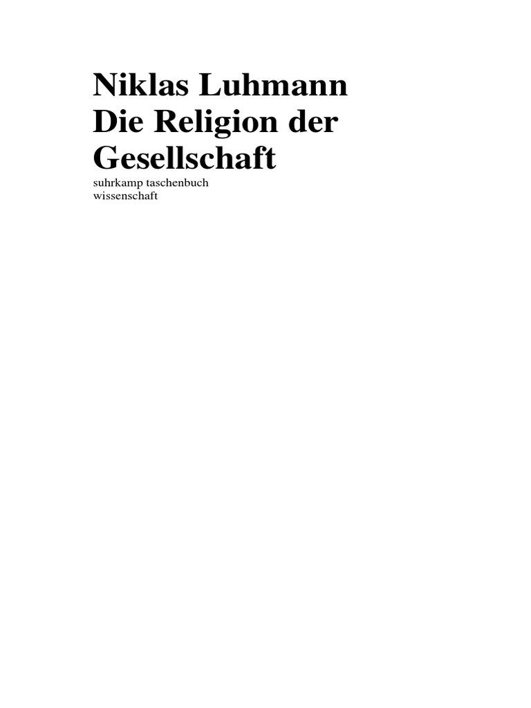 Luhmann Niklas Religion Der Gesellschaft