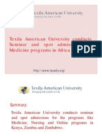 Texila American University conducts Seminar and spot admissions forMedicine programs in Africa