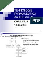 Tehnologie Farmaceutica Anul III, Curs 2