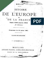 Melin - Histoire de l'Europe Et de La France (1270-1610)