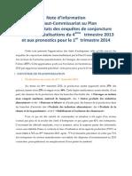 Note d'information du Haut-Commissariat au Plan du Maroc sur les résultats des enquêtes de conjoncture relatifs aux réalisations du 4ème trimestre 2013 et aux pronostics pour le 1er trimestre 2014