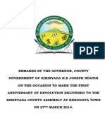 GOVERNOR JOSEPH K.NDATHI SPEECH TO MARK THE 1ST ANNIVERSARY OF DEVOLUTION.
