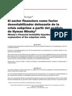 El sector financiero como factor desestabilizador detonante de la crisis subprime a partir del análisis de Hyman Minsky