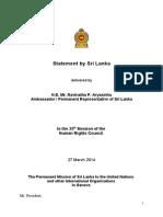 Sri Lanka Statement On March 27 at the UNHRC