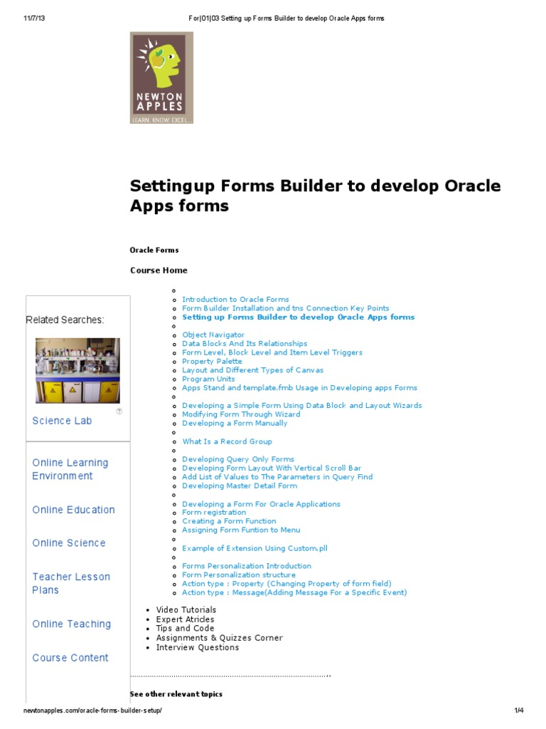 For_01_03 Setting Up Forms Builder to Develop Oracle Apps