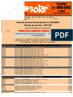 Lista de Precios (MundoSolar) MARZO-ABRIL 2014 (DOLARES)