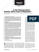 Do Gifts From the Pharmaceutical Idurty Effect Trust in Physicians