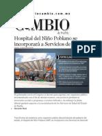 14-03-2014 Diario Matutino Cambio de Puebla - Hospital del Niño Poblano se incorporará a Servicios de Salud.