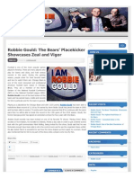 Robbie Gould the Bears Placekicker Showcases Zeal and Vigor
