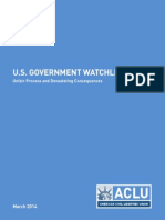 ACLU Report - US Government Watchlisting